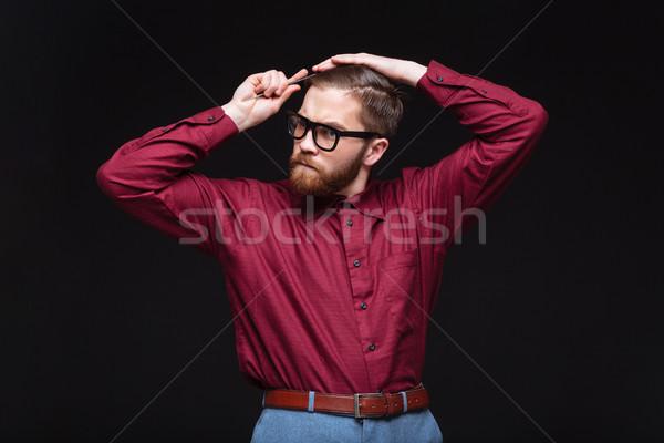 Erkek inek öğrenci saç eğlence siyah Stok fotoğraf © deandrobot