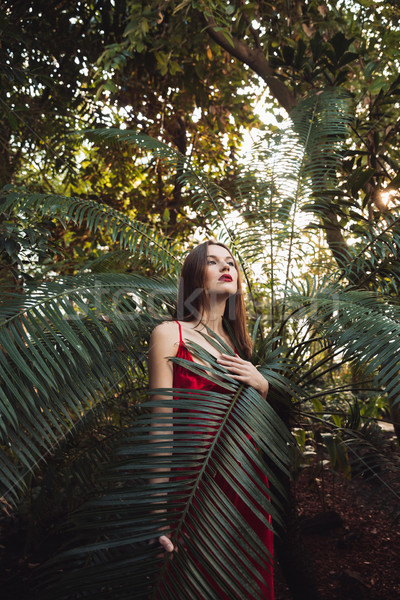 Vertical image of mystery brunette woman in greenhouse Stock photo © deandrobot