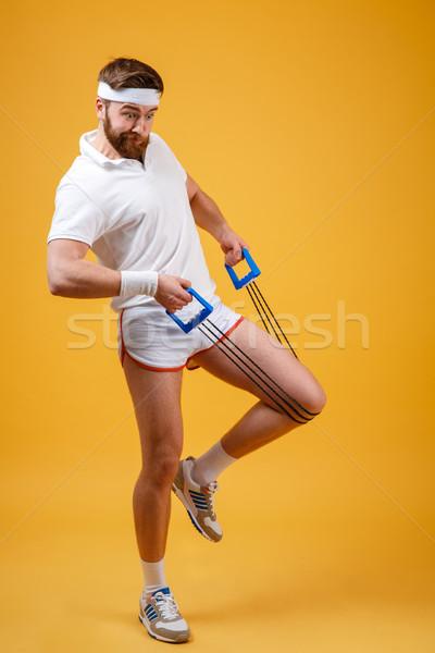 Portret fitness man training sport Stockfoto © deandrobot
