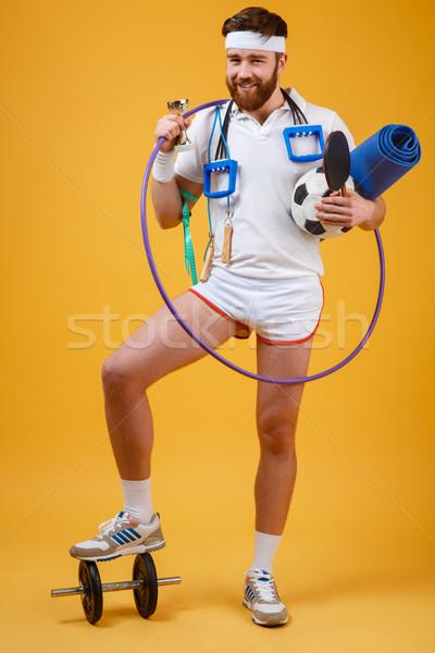 Gelukkig tevreden man kampioen gouden Stockfoto © deandrobot