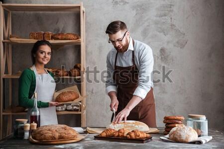 Boldog szerető pár kép néz egyéb Stock fotó © deandrobot