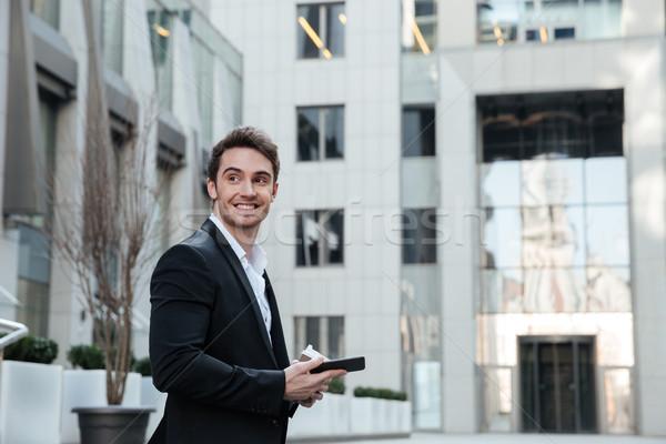 Man naar boven koffie glimlachend glimlach Stockfoto © deandrobot