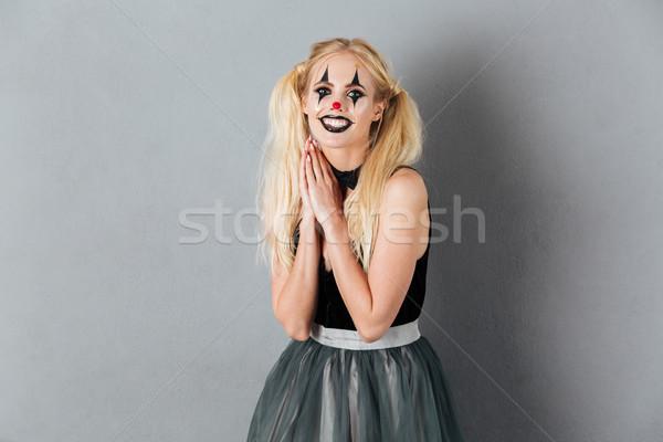 Portré mosolyog szőke nő halloween bohóc smink Stock fotó © deandrobot