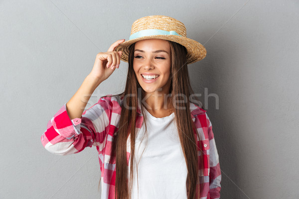 красивой молодые кавказский женщину прикасаться соломы Сток-фото © deandrobot