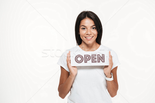 Portrait of a smiling attractive woman showing open sign Stock photo © deandrobot