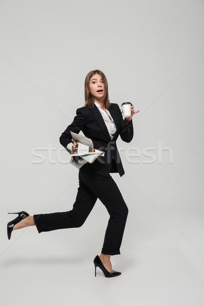 Ritratto divertente occupato imprenditrice suit Foto d'archivio © deandrobot