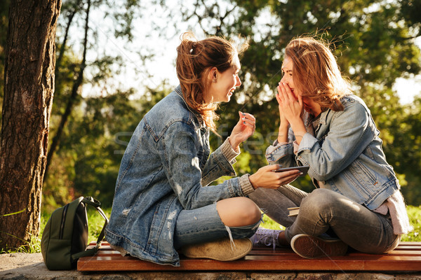 Two cheerful female friends sitting on wooden bench with crossed Stock photo © deandrobot