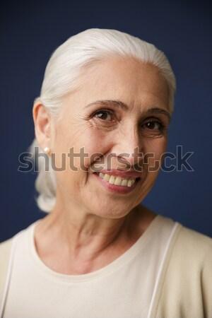 Portre gülme olgun kadın el ele tutuşarak göğüs Stok fotoğraf © deandrobot
