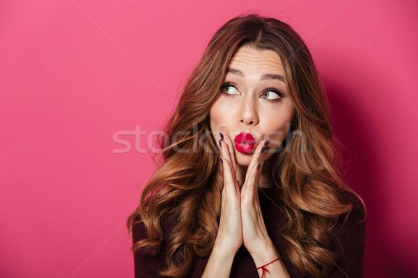 すごい 女性 立って 孤立した ピンク 画像 ストックフォト © deandrobot