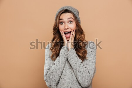 Close-up photo of lovely brunette woman in gray knitted sweater  Stock photo © deandrobot