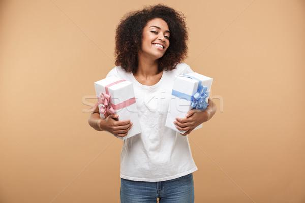 Portré elégedett fiatal afrikai nő portré nő Stock fotó © deandrobot