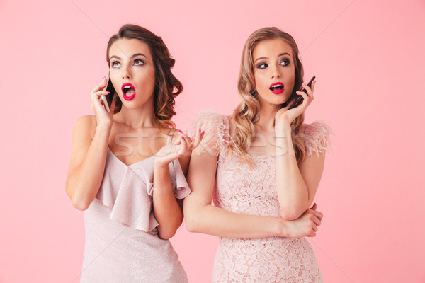 Two carefree elegant women in dresses posing together Stock photo © deandrobot