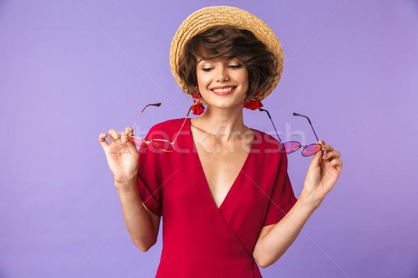 портрет соломенной шляпе два Солнцезащитные очки Сток-фото © deandrobot