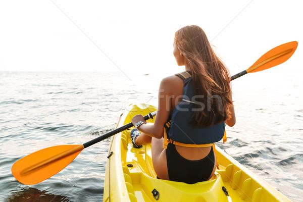 вид сзади фото озеро морем Сток-фото © deandrobot