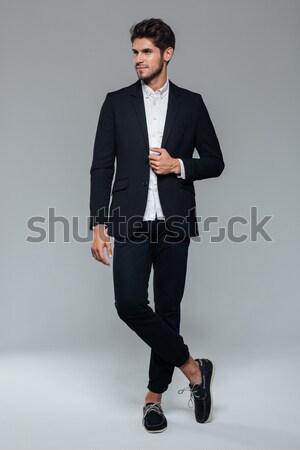 портрет бизнесмен Постоянный серый человека исполнительного Сток-фото © deandrobot