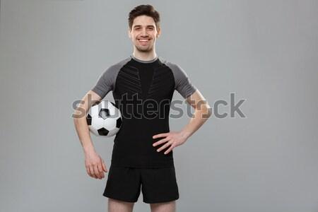 Futbolista pelota aislado blanco sonrisa Foto stock © deandrobot