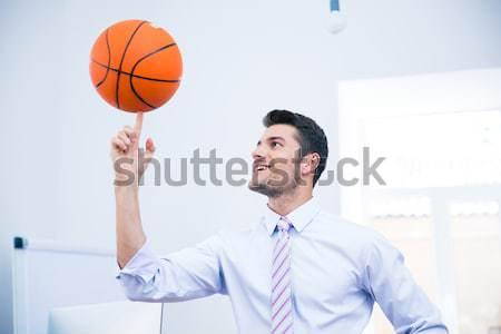 幸せ ビジネスマン ボール オフィス ビジネス バスケットボール ストックフォト © deandrobot