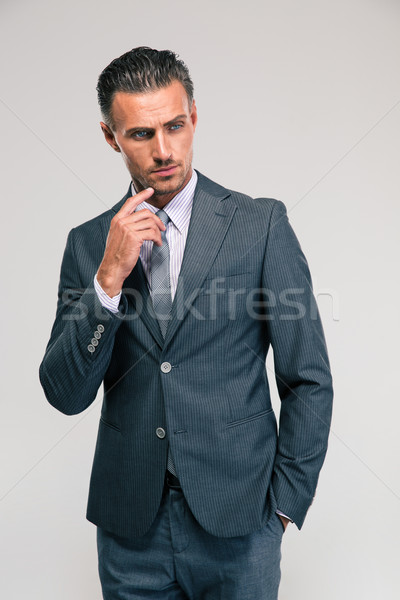 Stockfoto: Portret · peinzend · zakenman · geïsoleerd · witte