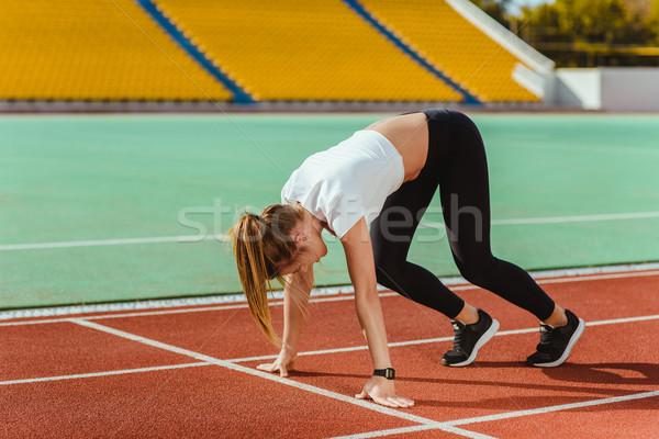 女性 ランナー 開始 位置 肖像 屋外 ストックフォト © deandrobot