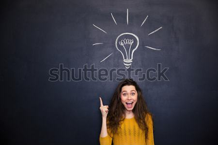 Cheerful woman with opened mouth having idea over blackboard background Stock photo © deandrobot