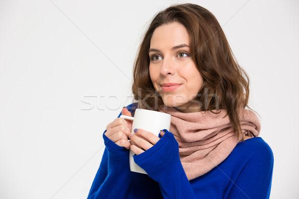 Tenero felice donna caldo sciarpa bere Foto d'archivio © deandrobot