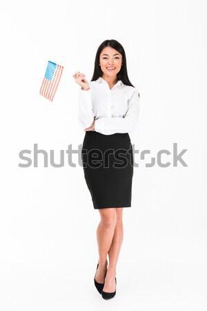Mutlu genç işkadını Amerika Birleşik Devletleri Amerika Stok fotoğraf © deandrobot