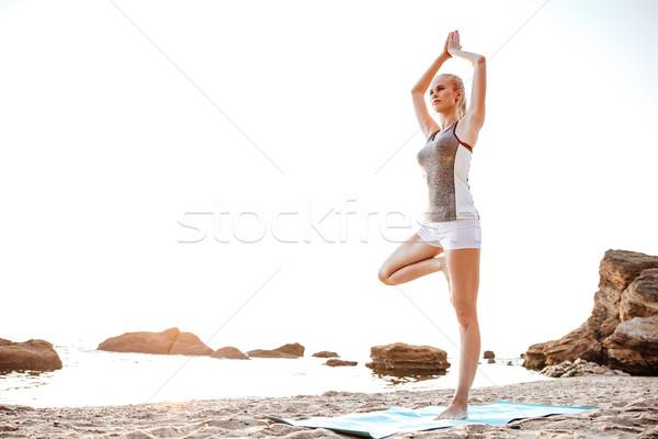 若い女性 立って ヨガのポーズ 1 脚 肖像 ストックフォト © deandrobot