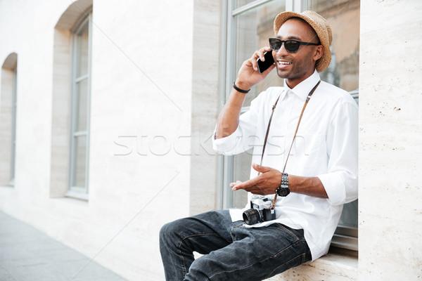 Portre serin siyah adam sokak gözlük adam Stok fotoğraf © deandrobot