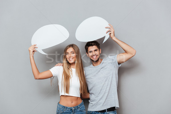 Couple pretend that talking Stock photo © deandrobot