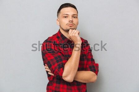Stok fotoğraf: Adam · gömlek · durdurmak · ciddi · genç