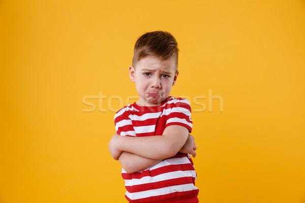 肖像 悲しい 動揺 少年 泣い ストックフォト © deandrobot