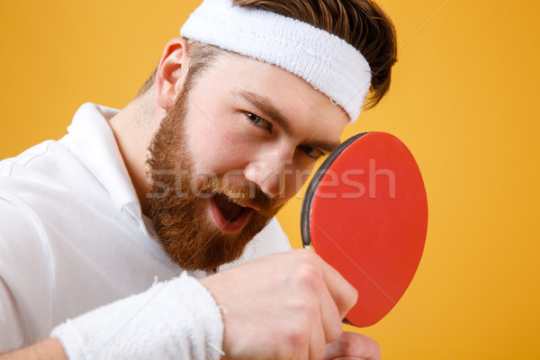 Aantrekkelijk jonge racket tafeltennis Stockfoto © deandrobot