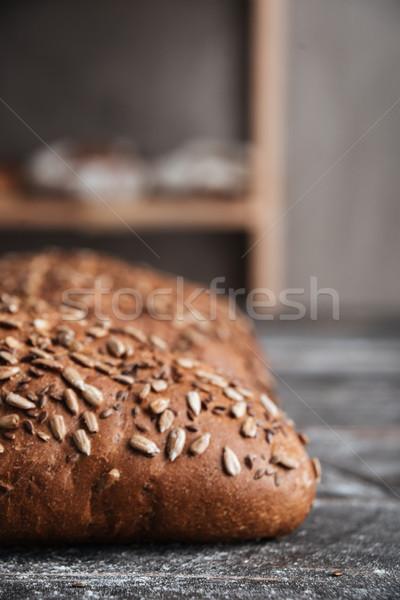 Ekmek karanlık ahşap masa fırın görüntü kafe Stok fotoğraf © deandrobot