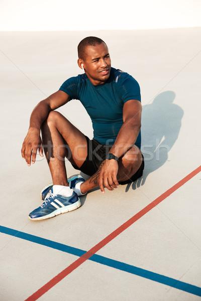 портрет улыбаясь африканских фитнес человека Сток-фото © deandrobot