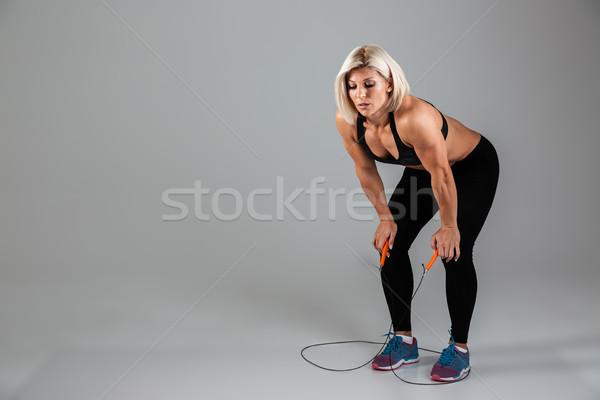 肖像 疲れ 筋肉の 成人 スポーツウーマン ストックフォト © deandrobot