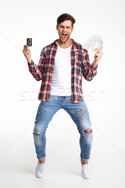 Foto stock: Retrato · feliz · animado · homem