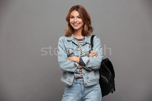 肖像 幸せ かなり 少女 デニム ジャケット ストックフォト © deandrobot