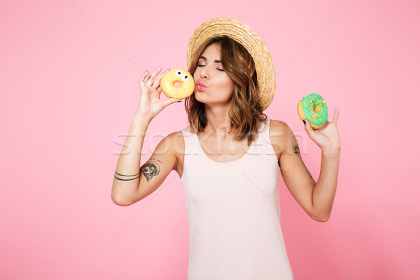 Portrait of a pretty lovely girl in summer hat Stock photo © deandrobot