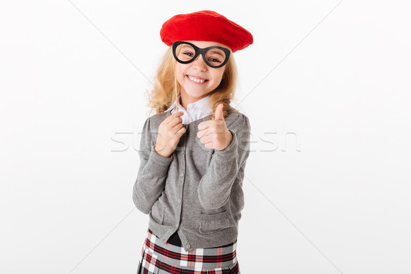 Portrait of a happy little schoolgirl Stock photo © deandrobot