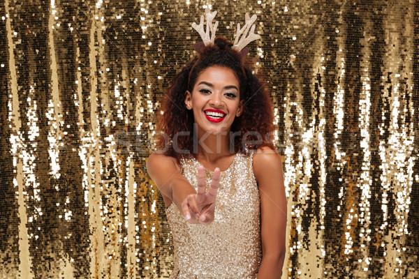 Portré afro amerikai nő visel karácsony Stock fotó © deandrobot