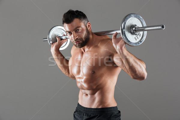 Portré koncentrált erős póló nélkül férfi testépítő Stock fotó © deandrobot