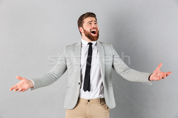 Portré elragadtatott üzletember öltöny sikít ünnepel Stock fotó © deandrobot
