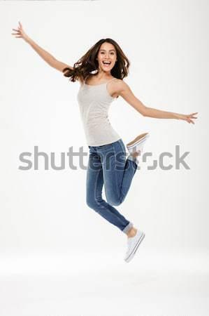 Foto brunette vrouw toevallig bruin haar zoals Stockfoto © deandrobot