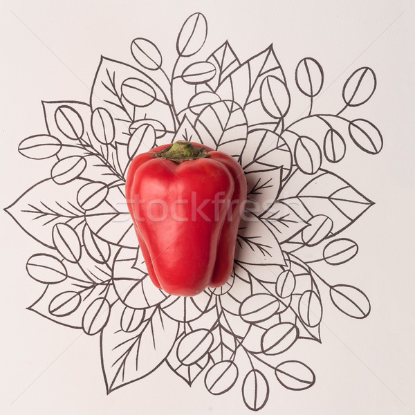 Red bell pepper over outline floral background Stock photo © deandrobot