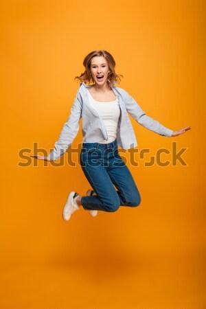 портрет молодые счастливым деловая женщина Постоянный изолированный Сток-фото © deandrobot