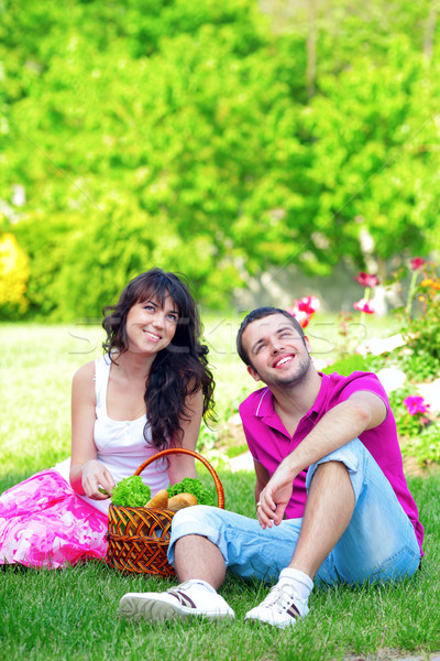 Glücklich Picknick Freien Sommer Tag Stock foto © deandrobot