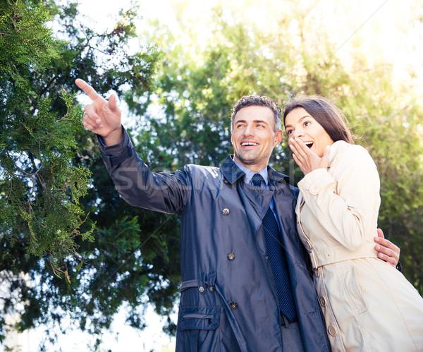 Man wijzend iets gelukkig vrouw Stockfoto © deandrobot