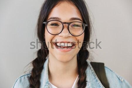 Stockfoto: Portret · jonge · vrouw · bril · schreeuwen
