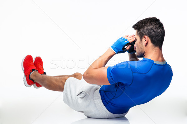 Fitness homem abdominal isolado branco esportes Foto stock © deandrobot