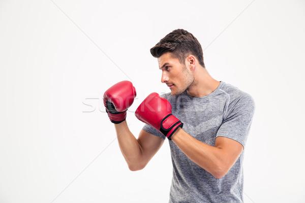 Portre genç erkek boksör yalıtılmış beyaz Stok fotoğraf © deandrobot